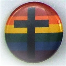 Button 32mm: Cross on rainbow