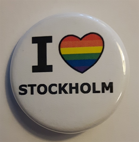 Button 32mm: I Rainbow Heart Stockholm