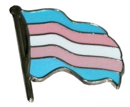 Trans Pride Wavy Flag Label Pin